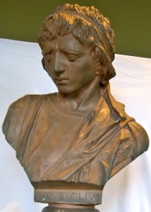 Bust of a young Vergil by Gaetano Federici, 1898. Courtesy of the Passaic County Historical Society, Paterson, NJ. Funds are being raised to restore this work of a New Jersey sculptor: click here to learn more.