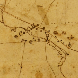 """Percipany"" and the house of Lemuel Cobb, detail of a map by Cobb and Walter Kirkpatrick of iron mines and furnaces in northern New Jersey. Map MC-3-7. From the collections of the North Jersey History Center, The Morristown and Morris Township Library. Photo by Carolyn Dorsey."