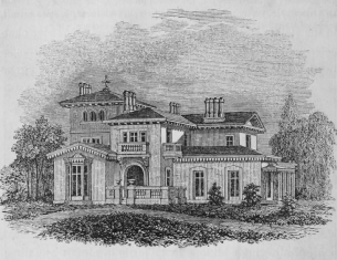 Riverside, the residence of Bishop Doane at Burlington, designed by John Notman. Illustration from A. J. Downing, A treatise on the theory and practice of landscape gardening, adapted to North America (1841)