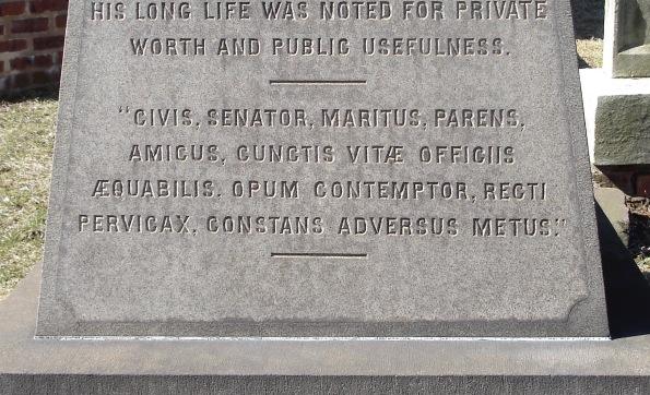 MID Perth Amboy St Peter's Episc James Parker 1868 'CIVIS, SENATOR, MARITUS, PARENS, AMICUS, CUNCTIS VITÆ OFFICIIS ÆQUABILIS, OPUM CONTEMPTOR, RECTI PERVICAX, CONSTANS ADVERSUS METUS. ' gml (Tacitus Hist. 4.5)