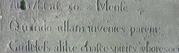 UNI Elizabeth 1st Presb Phebe Chandler 'Obiit' 1781 'Ann Ætat' 'Mense' 'Quando ullam invenies parem' cf. Hor. Od. 1.24.8 gml